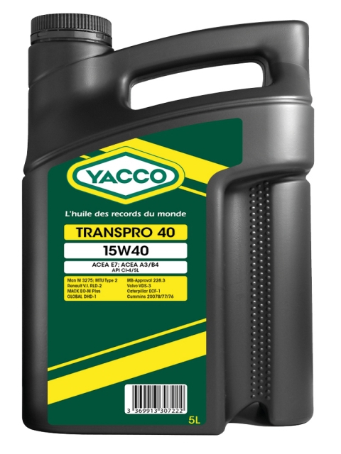Масло грузовое YACCO TRANSPRO 40 минер. 15W40,CI-4/SL (5 л)