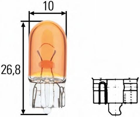 Лампа, 12 В, 5 Вт, WY5W, W2,1x9.5d, HELLA, 8GP 003 594-541