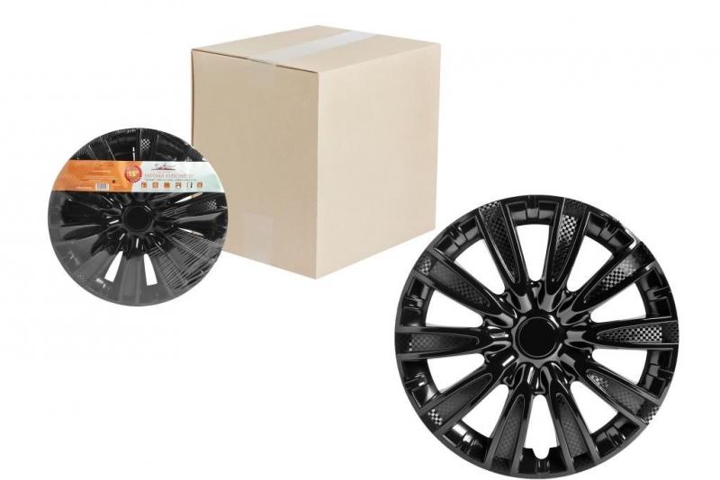 "Колпаки для колес AIRLINE 15""Торнадо"" чёрный глянец,карбон. 2 шт, AWCC1509"
