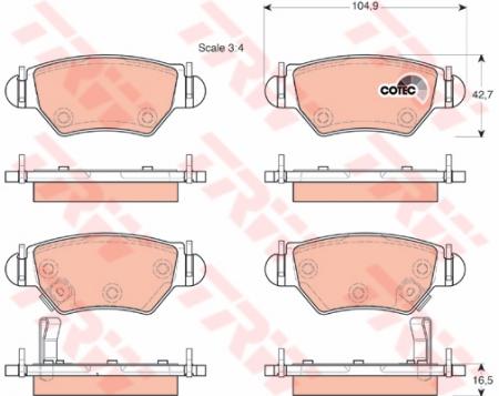 Колодки дисковые Задние, TRW, GDB1471