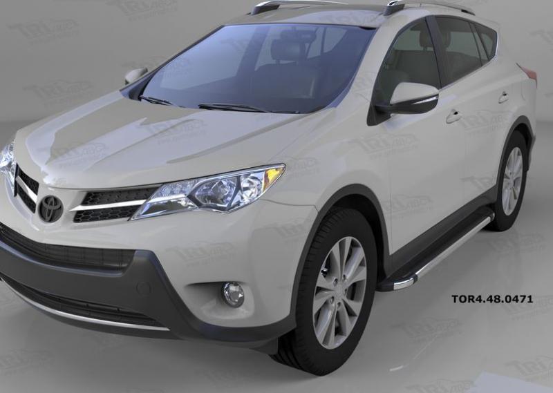 Пороги алюминиевые (Brillant) Toyota RAV4 (Тойота РАВ4) (2013-/ 2015-) (черн/нерж) силовой крепеж, T