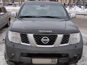Дефлектор капота Nissan Pathfinder (Ниссан Патфайндер) (2004-2010) / Navara (2005-) (темный), SNIPAT