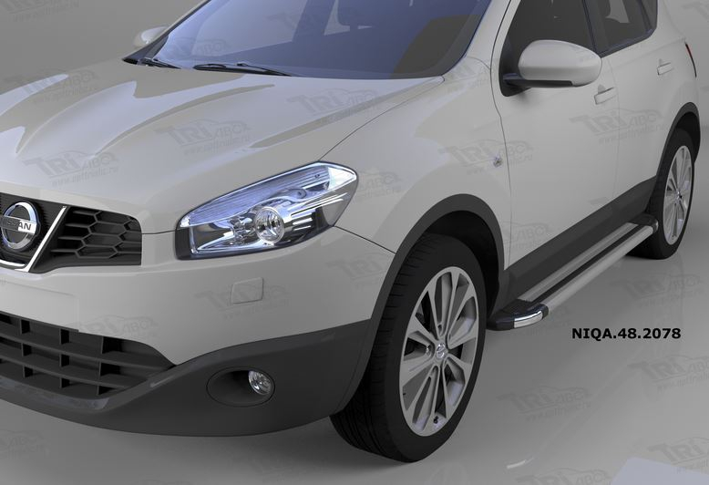 Пороги алюминиевые (Brillant) Nissan Qashqai (Ниссан Кашкай) (2006-2014) (серебр), NIQA482078
