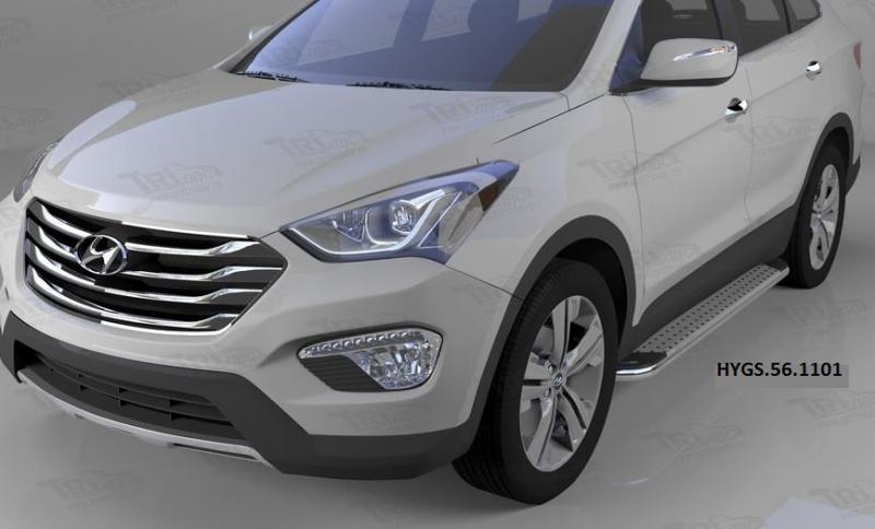 Пороги алюминиевые (Opal) Hyundai Grand Santa Fe (2013-), HYGS561101
