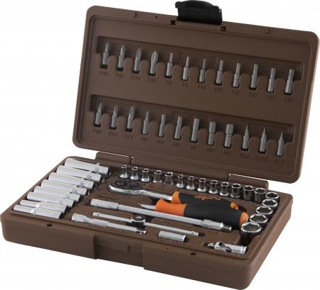 """OMT57S Универсальный набор инструмента торцевые головки 1/4""""DR 4-14 мм, E4-E8 и вставки биты, 57 предметов"""