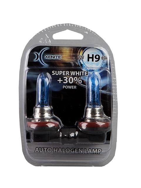 Лампа галогенная XENITE H9 SUPER WHITE (Яркость +30%) блистер 2шт., 1007048