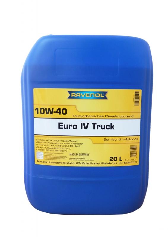 Моторное масло RAVENOL EURO IV Truck, 10W-40, 20л, 4014835725928