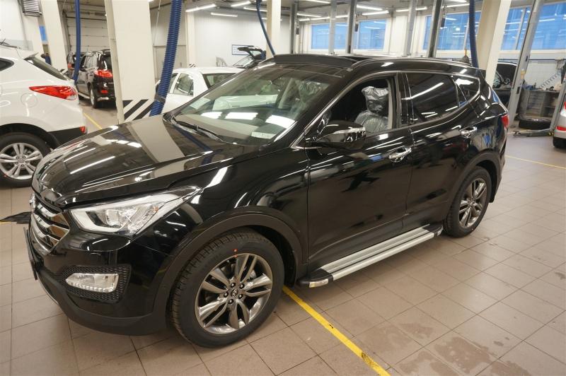 Пороги алюминиевые (Brillant) Hyundai Santa Fe (Хёндай Санта Фе) (2012-/2013-/2015-) (серебр), HYSA4