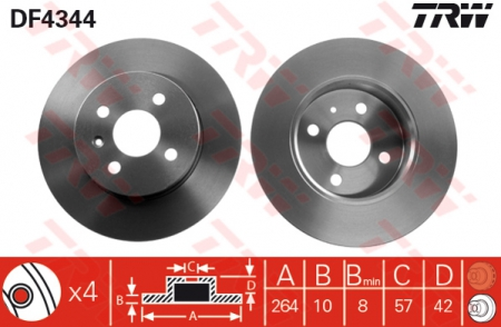 Диск тормозной задний, TRW, DF4344
