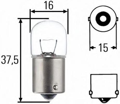Лампа, 24 В, 5 Вт, R5W, BA15s, HELLA, 8GA 002 071-261