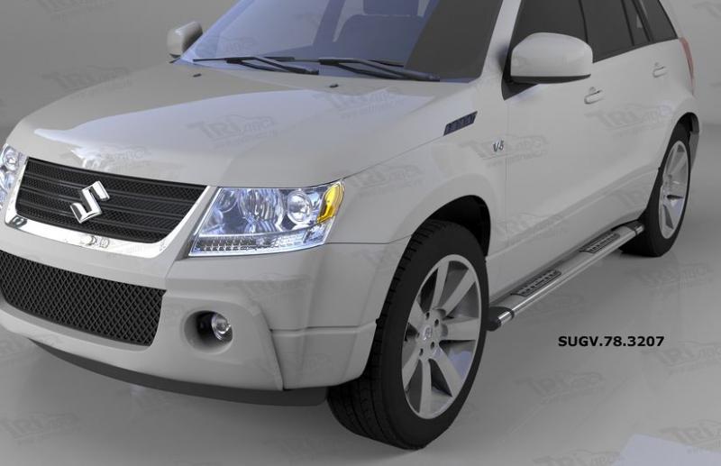 Пороги алюминиевые (Emerald silver ) Suzuki Grand Vitara (2006-2010-), SUGV783207