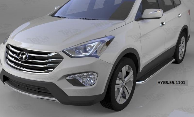 Пороги алюминиевые (Ring) Hyundai Grand Santa Fe (2013-), HYGS551101