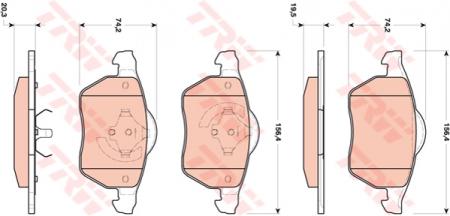 Колодки дисковые Передние, TRW, GDB1717