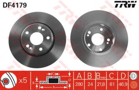 Диск тормозной передний, TRW, DF4179