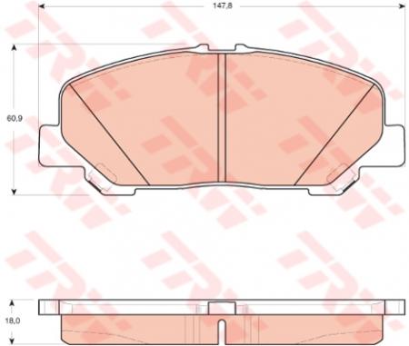 Колодки дисковые Передние, TRW, GDB3455