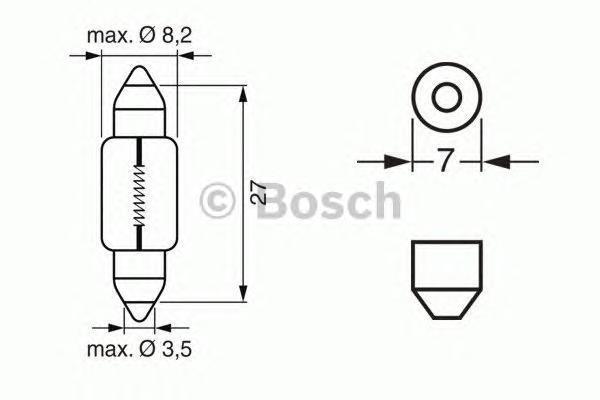 Лампа Trucklight, 24 В, 3 Вт, SV7-8, BOSCH, 1 987 302 528