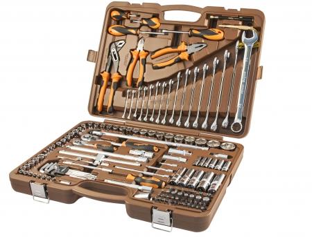 """OMT143SL Универсальный набор инструмента торцевые головки 1/4""""DR и 1/2""""DR, аксессуары к ним, ШГИ, отвертки и комбинированные ключи, 143 предмета"""