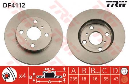 Диск тормозной передний, TRW, DF4112
