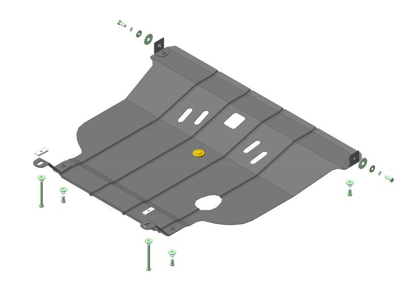Защита картера двигателя, КПП Nissan Sunny (B15) 1998-2003 V=1,5I (сталь 2 мм), MOTODOR01452