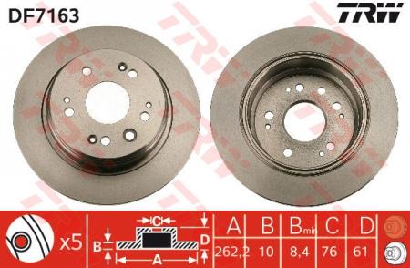 Диск тормозной задний, TRW, DF7163