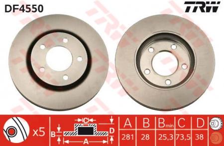 Диск тормозной передний, TRW, DF4550