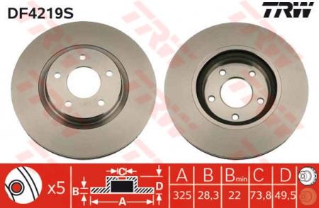 Диск тормозной передний, TRW, DF4219S