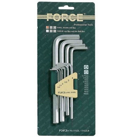 FORCE 5102XL Набор ключей Г-образных HEX 1,27-10мм 10пр