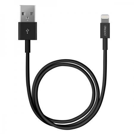 Дата-кабель USB-8-pin для Apple, 1.2м, черный, Deppa, 2115
