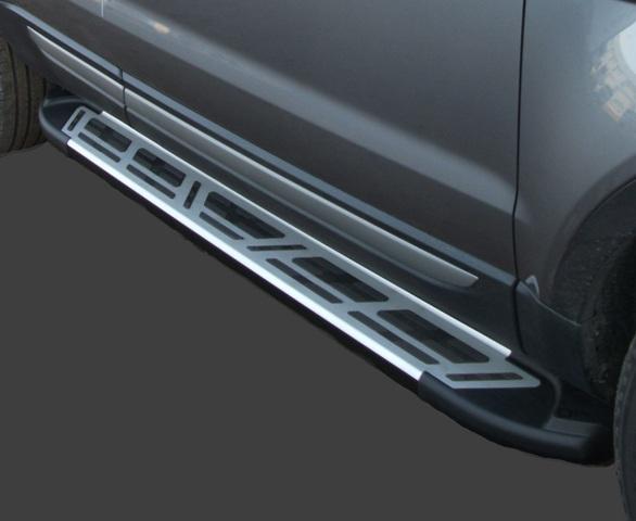 Пороги алюминиевые (Corund Silver) Nissan Qashqai (Ниссан Кашкай) +2 (2009-2014), NIQ2532083