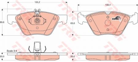 Колодки дисковые Передние, TRW, GDB1215