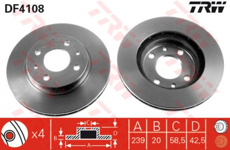 Диск тормозной передний, TRW, DF4108