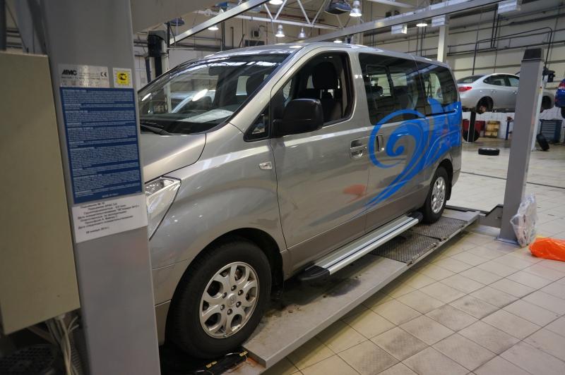 Пороги алюминиевые (Brillant) Hyundai H1 (2007-) (серебр), HYH1481240