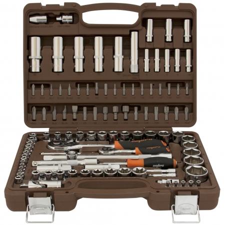 """OMT108S Универсальный набор инструмента торцевые головки 1/4"""", 3/8"""",1/2""""DR4-32 мм, 120 предметов"""