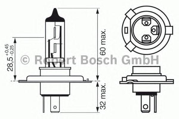 Лампа Xenon Blue, 12 В, 60/55 Вт, H4, P43t, BOSCH, 1 987 301 010