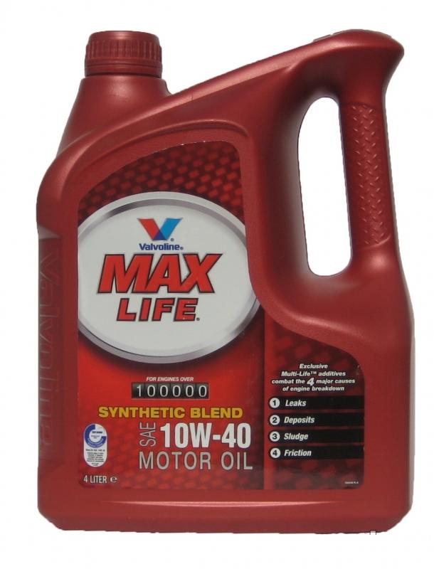Моторное масло VALVOLINE MaxLife, 10W-40, 4л, VE17907/8/9