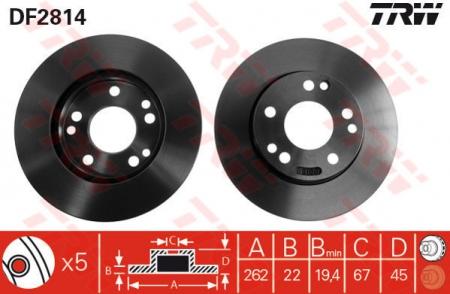 Диск тормозной передний, TRW, DF2814