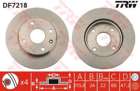 Диск тормозной передний, TRW, DF7218