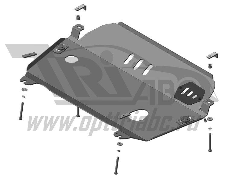 Защита алюминиевая 5 мм Д,КПП Toyota Highlander; V=3,5; с 2014 г, MOTODOR32519