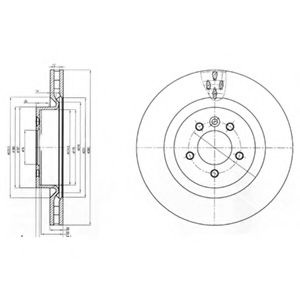 Диск тормозной передний, DELPHI, BG9007
