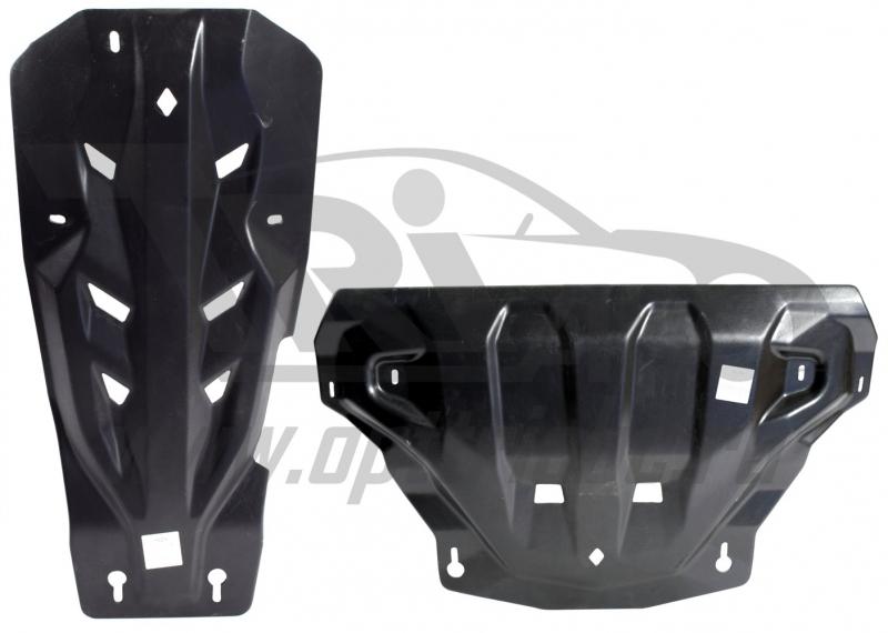 Защита картера двигателя и кпп Infiniti (Инфинити) QX70 V- 3.0D (FX30 (2013-)), из 2-х частей (Компо