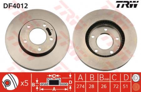 Диск тормозной передний, TRW, DF4012
