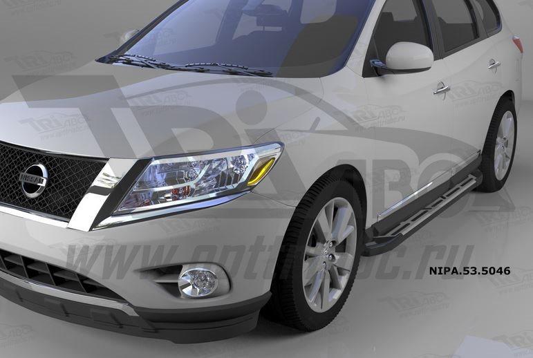 Пороги алюминиевые (Corund Silver) Nissan Pathfinder (2014-), NIPA535046