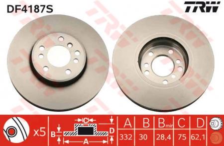 Диск тормозной передний, TRW, DF4187S