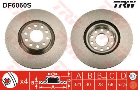 Диск тормозной передний, TRW, DF6060S