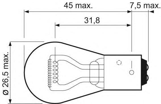 Лампа, 12 В, 42481 Вт, P21/4W, BAZ15d, VALEO, 032 105
