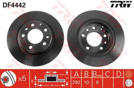 Диск тормозной задний, TRW, DF4442