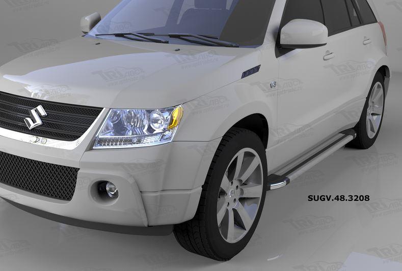 Пороги алюминиевые (Brillant) Suzuki Grand Vitara (2006-2010-) (серебр), SUGV483208