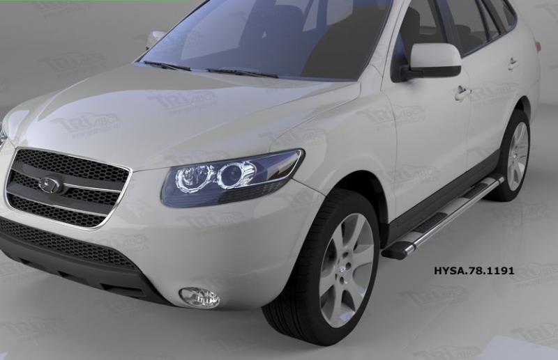 Пороги алюминиевые (Emerald silver ) Hyundai Santa Fe (Хёндай Санта Фе) (2006-2010-2012) кроме Тагаз