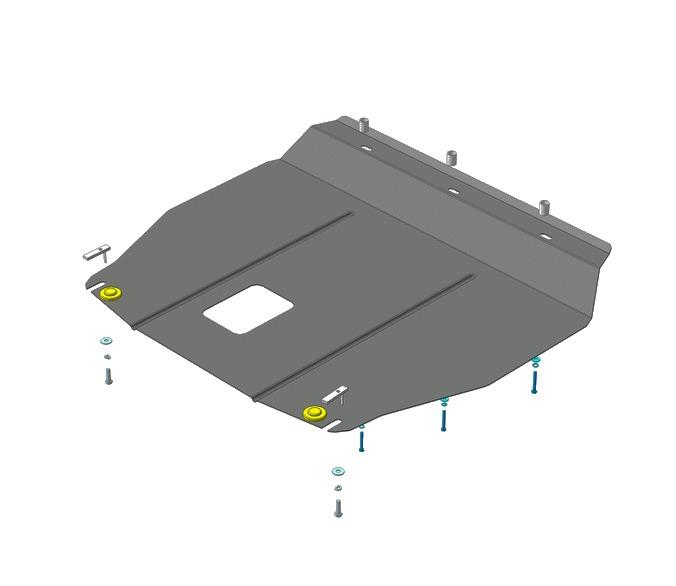 Защита картера двигателя, КПП Kia Sorento IV 2012- V=2,2TD (сталь 2 мм), MOTODOR61001