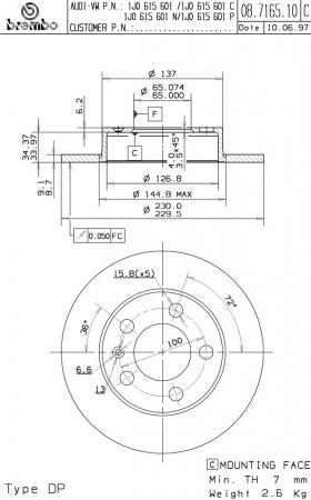 Диск тормозной задний, BREMBO, 08716514